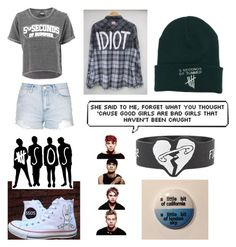 """""""5SOS"""" by unknown-girl88 ❤ liked on Polyvore featuring Converse and Topshop"""