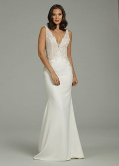 516f1a6c2cf Style 2806 Tara Keely by Lazaro bridal gown - Ivory crepe sheath bridal gown