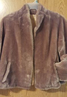 VINTAGE Womens Borgana Milk Chocolate Color Short Faux Fur Coat Medium  #Borgana