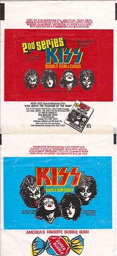 KISS 1st & 2nd series bubblegum card wrappers. The very first set of KIss cards from the 70's. I use to have both series for the full set. I only have the first set now. The second is to expensive to buy these days. Still wish I had them. best set of all the KISS cards over the years.