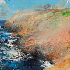 Zawn a Bal. July mixed media on wood panel… Pastel Landscape, Abstract Landscape, Kurt Jackson, St Just, Seascape Paintings, Oil Paintings, Inspirational Wall Art, London Art, Mixed Media Painting