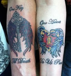 "Key and Lock couples' tattoo done by Steven ""Phoenix"" Kish https://www.facebook.com/steven.kish1"