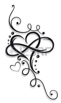 Hart en oneindigheid, Tattoo voor Valentijnsdag. Stockfoto - 51275734