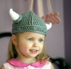 "Need one of these for my daughter who we call ""the viking baby""...Ready to ship - Crochet Viking Helmet with Horns child size fits 3-8 year old"