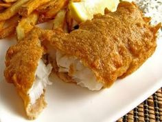 Beer Battered Fish (Fish and Chips). Christ I love a good fish and chips. Cod Recipes, Fish Recipes, Seafood Recipes, Cooking Recipes, Fish Dishes, Seafood Dishes, Beer Battered Halibut, Battered Cod, Beer Batter Recipe