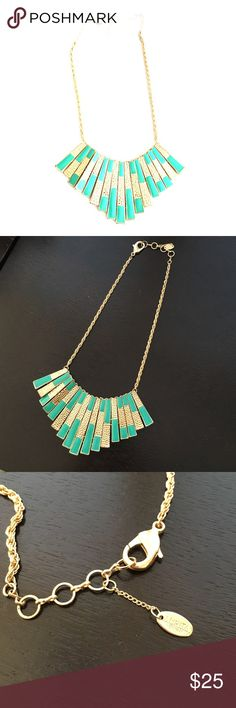 "Amrita Singh Gold and Turquoise Bib Necklace Gorgeous hammered gold and turquoise enamel bars. In great condition. Extendable links and lobster claw closure. Up to 18"" in length. Bib is 5"" wide x 2.25"" tall. Amrita Singh Jewelry Necklaces"