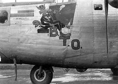 """B.T.O."" (Big Time Operator) - B-24J 44-40072, ETO: 492nd BG, 489th BG, 453rd BG, 466th BG. Cartoon character modeled after the typical Tex Avery wolf of the '40s. #WWII"