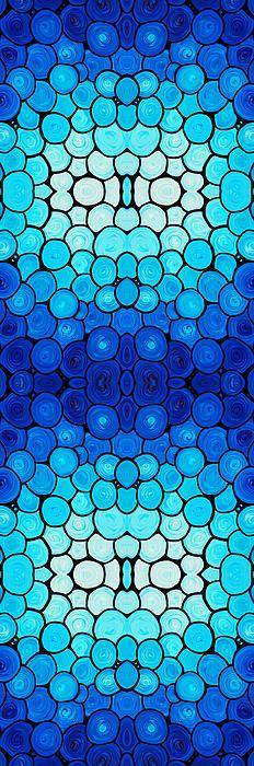 Winter Lights - Blue Mosaic Art By Sharon Cummings Artist Sharon Cummings Medium Painting - Mixed Media DescriptionRich blues and aqua with a hint of white....Abstract Art by Sharon Cummings.