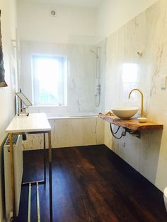 Marble clad first floor bathroom - irish elm counter and brass and flint feature tap and spout. Rental Apartments, Perfect Place, Counter, Irish, Marble, Flooring, Cool Stuff, Bathroom, Home