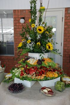 food tables - flowers can be from my garden and i can make arrangements Fruit Tables, Fruit Buffet, Food Tables, Buffet Set, Fruit Trays, Fruit Centerpieces, Fruit Decorations, Fruit Arrangements, Party Platters