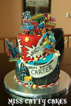Carter's Superhero Cake by Miss Catty Cakes Cake Design, via Flickr