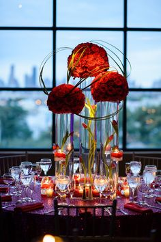 red roses wedding centerpiece