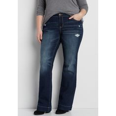 maurices Plus Size - Ellie Dark Wash Bootcut Jeans, Women's, ($37) ❤ liked on Polyvore featuring jeans, plus size, plus size jeans, blue jeans, boot-cut jeans, plus size bootcut jeans and womens plus size jeans