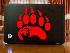 Bear Paw With Bear Inside Decal Sticker Car Tattoo 6 Inch   CafeDecals - Housewares on ArtFire