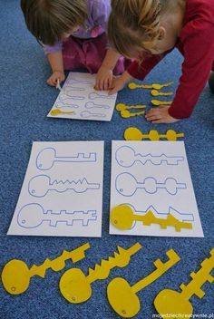 Fun matching activity!  --- We could call it krazy keys and age up the difficulty by making them out of cardboard and having the pieces sink in like a puzzle so only the correct key will fit and you could even time it