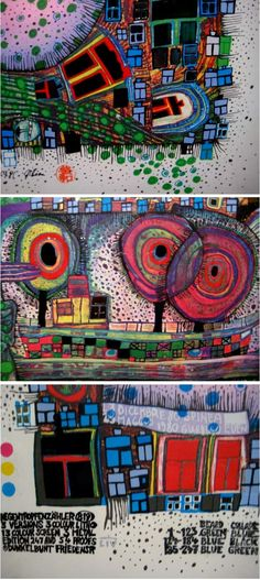 Hundertwasser - saw a brilliant exhibition of his in Johannesburg at RAU in 1990 on an art school trip Klimt, Friedensreich Hundertwasser, Inspiration Artistique, Pablo Picasso, Art Plastique, Oeuvre D'art, Art And Architecture, Diy Art, Art Lessons