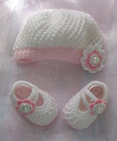 Baby Girls Hand knitted Lacy Beret and Mary Jane Booties Set. $45.00, via Etsy.