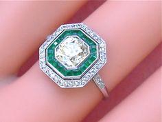 Antique 1 75ct Cushion Diamond 30ct Emerald Ring 1920 | eBay