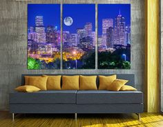 Denver Colorado Skyline  3 Panel Split Triptych par CanvasQuest