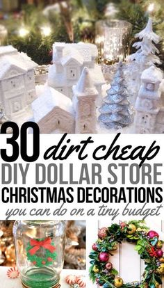 Check out these easy and pretty DIY dollar store Christmas decorations including dollar tree snowfalke wreaths, diy dollar tree christmas decor and other simple dollar store christmas ornaments.