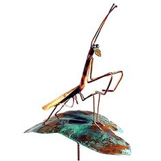 Copper Praying Mantis Garden Sculpture & Stake