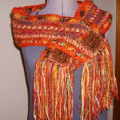 Crochet Combustion Scarf Foliage Explosion Autumn by GypsythatIwas, $34.00