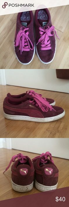 Burgundy Puma Suede Sneakers Worn very few times.  Good condition!!! Puma Shoes Sneakers