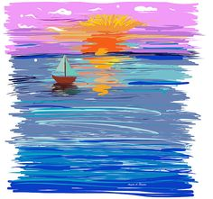 Sunset sailing by Angela A Stanton: The quintessential sailing picture using the vector app Adobe Ideas on the iPad. This app is different in that while it is vector, it does not actually look or work like one. It is quite cool. Saving it in vector format it is infinite in its size, so if you need a vector format to size, please contact the artist at angela@stantonphotostudios.com for more information.