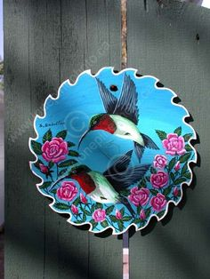 free saw blade paintings | REC CRA MIS SK CWN02D3771D VT PAINTING OF HUMMINGBIRD ON ROTARY SAW ...