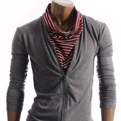 Stripe Layered Zipup Turtleneck T-shirt (W001-GRAY)
