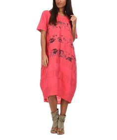 Look what I found on #zulily! Coral Clemence Linen Dress #zulilyfinds