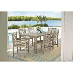 Martha Stewart Living Blue Hill 7-Piece All-Weather Eucalyptus Wood Patio Dining Set 9433500270 at The Home Depot - Mobile