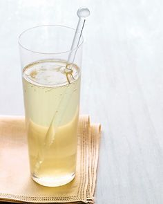 Ginger Sparkler:  In this light, sophisticated cocktail, fresh ginger syrup is combined with sparkling wine.