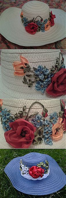 Соломенные шляпки, вышитые лентами / Вышивка / Вышивка лентами