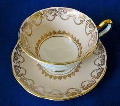 Royal Albert Pastel Peach ~ GOLD GILT PATTERN ~ Teacup cup saucer tea  in Pottery & Glass, Pottery & China, China & Dinnerware, Royal Albert | eBay
