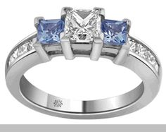 1.51 Carat Alameda2 Diamond Blue Sapphire 18Kt White Gold Engagement Ring