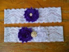 Purple and white garter set by BloomsandBlessings on Etsy