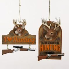 """Amazon.com: Club Pack of 12 Deer and Rifle Gun Hunting Plaque Christmas Ornaments 4.5"""": Home & Kitchen"""