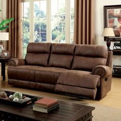 The Furniture of America Lencho Transitional Style Plush Recliner Sofa brings a stylish touch to your home. With perfectly stitched detailing, this. Sofa Upholstery, Sofa Pillows, Couch, Leather Reclining Sofa, Leather Sectional Sofas, Comfy Sofa, Comfortable Sofa, Deep Sofa, Furniture Deals