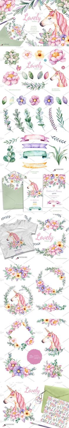 Lovely Flowers&Unicorn. Wedding Card Templates