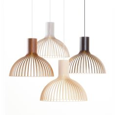Victo 4250 pendant light is designed by Seppo Koho and made by Secto Design, Finland. The natural birch wood gives the light a warm and reflecting light. The concealed light bulb prevents the light from blinding and casting shadows. Deco Luminaire, Luminaire Design, Lamp Design, Lighting Design, Berlin Design, Lampe Decoration, Black Ceiling, Suspension Design, Luz Natural