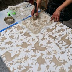 DIY stenciled Otomi table cloth | Small Otomi Folk Art Furniture Stencil | Royal Design Studio
