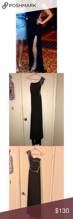 GIGI Prom/Formal Dress Beautiful GIGI prom/formal gown. It's a black one shoulder dress with a perfect slit to show off your legs. It has an open back style and shows some skin around the waist. It has gorgeous rhinestones on it. The material is great quality and it is double-lined, yet the dress is not heavy or uncomfortable in anyway. It is not hard to put on or take off. You don't need a bra! I wore this dress once to my sorority formal and got compliments all night on the dress. More…