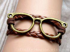 $3.99 Glasses Bracelet,vintage brass glasses with brown flocking rope and braid bracelet,cute glasses bangle,friendship bracelet