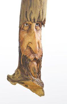 Wood Spirit Wood Carving Wood Sculpture Face by JoshCarteArt