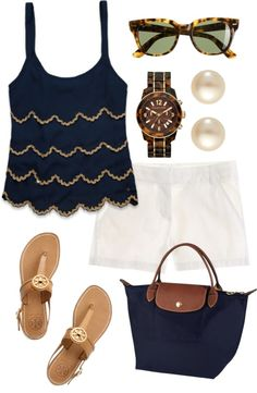 Casual/ Spring-Summer/ Navy blue tank top with gold trimmed scalloped layers, white shorts, navy and brown bag, tortoise shell sunnies, tortoise shell watch, pearl earrings, Tory Burch beige sandals
