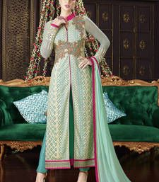 Buy Light green multi resham work georgette salwar with dupatta party-wear-salwar-kameez online