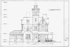 Exterior house elevation drawing from the movie Practical Magic. Garden view.