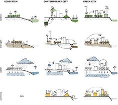 Carl S Sterner Toward the Green City Architecture Concept Diagram, Architecture Graphics, Green Architecture, Sustainable Architecture, Landscape Architecture, Architecture Design, Architecture Portfolio, Architecture Diagrams, Classical Architecture