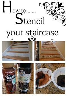 How to Stencil on a staircase and add some pizazz! Furniture Repair, Home Furniture, Stenciled Stairs, Painting Stairs, Painted Staircases, Do It Yourself Furniture, Diy Casa, Diy Ideas, Craft Ideas
